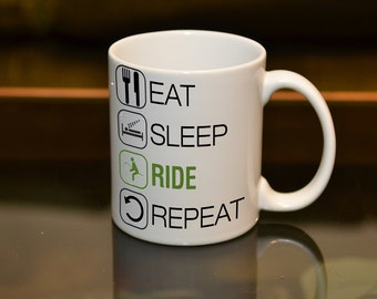 HORSERIDER GIFT Eat Sleep Ride Repeat Ceramic Sublimation Mug. Birthday Riding Hobby Equestrian Gift Add a Name or Message and Text Style