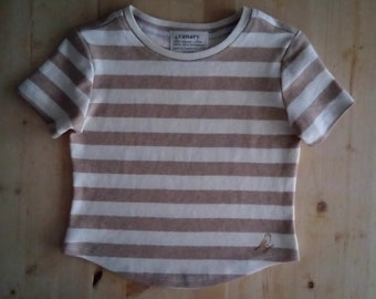 Toddler T-shirt, 100% USA organic cotton with colourgrown stripes - no dye or synthetic