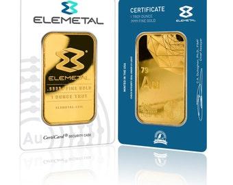 Elemetal .9999 Fine Gold 1 troy oz Bar