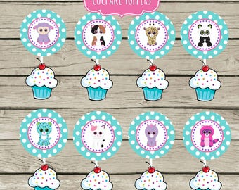 Pet Adoption Adopt a Pet Party Birthday Party Cupcake Toppers Printable Stuffed Animals 2.5 inch circle punch needed Puppy Kitten Cat Bear