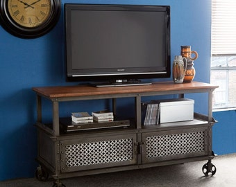 Evoke iron/wooden jali media TV unit/cabinet on wheels