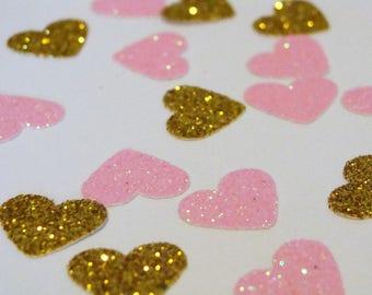 Wedding Confetti, Pink and Gold Heart Confetti,Pink and Gold Wedding Decor,Pink and Gold Bridal Table Decor,Pink and Gold Birthday Confetti