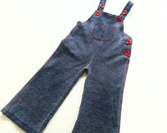 Baby 70s dungaRees size 1-2Y boys VinTage retro trouSerS jeans type LatZhose