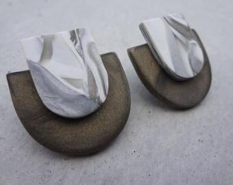 Scale Studs - White Gold / Polymer Clay Earrings / Stud Earrings