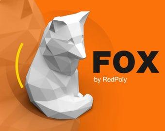 Fox DIY Papercraft Low Poly Tod Sculpture She-fox Paper Craft