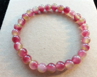 Natural Watermelon Chalcedony Beaded Bracelet Power Bracelet Healing Bracelet Energy Bracelet