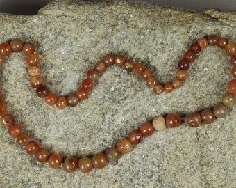 58 African Carnelian Beads 6-11mm, African Beads, Powder Glass Beads, Krobo Beads, Recycled Glass Beads