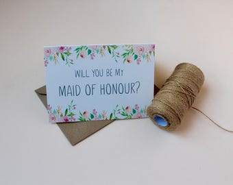 Will you be my Maid of Honour card | Floral Maid of Honour card | Rustic Wedding card