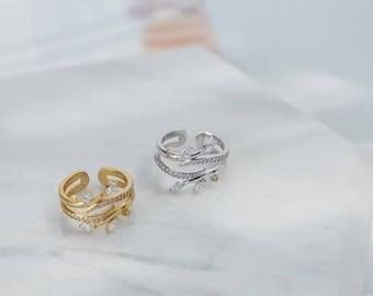 16K Gold ring, Diamond ring, Manmade diamond ring,  Gold filled ring, Free size ring, Double band ring, Geometric ring, CZ ring,