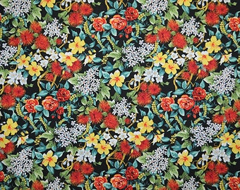 Hawaii rose black hawaiian fabric fabric flowers beach surf beach aloha flowers tiki cotton fabric flowers honolulu