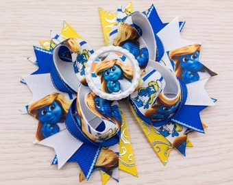 Smurfette Hair Bow - Stacked Hair Bow - Big Hair Bow - Smurfs Party - Smurfs Birthday Outfit - Smurfs Favor - Smurfette Boutique Bow