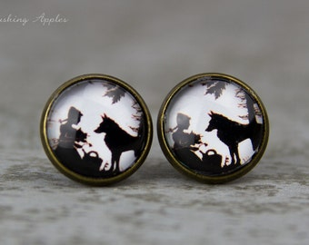"""Earrings, 12 mm """"Red Riding Hood"""" in black and white, paper cutting, minimalist, fairy tale"""