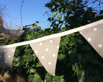 Grey Spotty Oilcloth Bunting in a Bag
