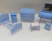 Vintage 1960s Pale Blue Plastic Dolls House Furniture  Bedoom Set