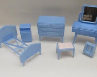 Vintage 1960s Pale Blue Plastic Dolls House Furniture - Bedoom Set