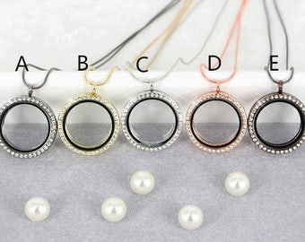 5pcs Floating Locket for Magnetic Glass Living Memory Charms Round Locket Pendant    Charms Necklace Accessories Jewelry 5 Colors
