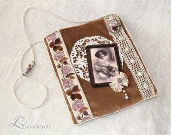 Shoulder bag, velvet, lace, vintage style