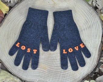 "Womens Gloves , Touchscreen Gloves , Texting Gloves , Winter Accessories , Handmade , Finger Tattoo , ""LOSTLOVE"" Tattoo with (Orange) Font"