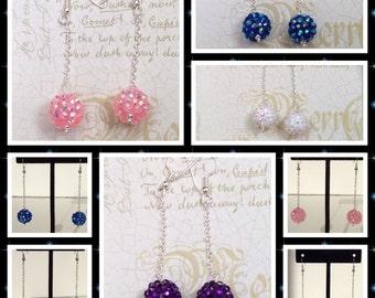 White Bling Balls Dangle Earrings, Disco Ball Earrings, Recking Ball Earrings, White Earrings, Ball and chain Earrings, White Dangle Earring