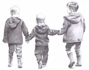 Birthday Gift // Family Portrait // Pencil Drawing // Original Portrait // Drawing from Photo // Portrait Drawing // Custom Portrait