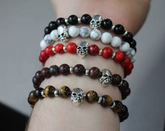 Beaded Stone Bracelet with Silver Skull Charm