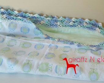 Blue/mint green reversible flannelette baby bunny rug