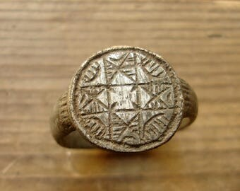 Ancient Crusaders Period Bronze Ring with a Cross 13th-14th Century AD / US approx. size 9 / British & Australian approx. size R 3/4