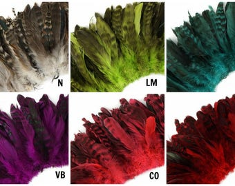 Natural and Dyed Chinchilla Coque Tail Feathers - Strung 1 Yard