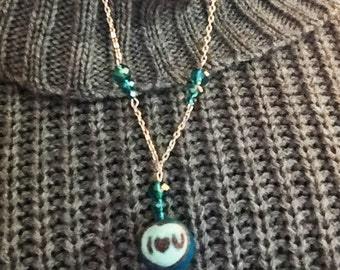 Wool Bead Conversation Heart Necklace