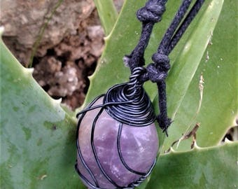 Wire Wrapped Amethyst Gemstone Necklace