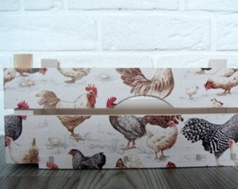 WOODEN CRATE CHICKENS, handmade wooden crate, wooden storage boxes, gift ideas, home decorations, decoupage crate, personalized crate