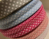 1 meter, Spotty, bias binding, sewing bias, sewing trim, ribbon, cotton bias, polka dots , fabric edging