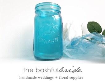 Blue mason jar, aqua mason jar, turquoise centerpiece, glass vase, turquoise glass, glass jar, beach wedding, farmhouse wedding, rustic wed