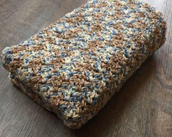 Blue, Brown, Tan Baby Blanket - Crochet