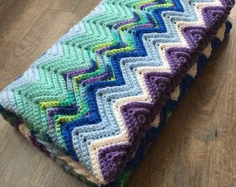 Blue, Purple, Green Chevron Lap Blanket - Crochet