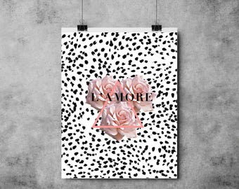 L'amore Print - Romance - Valentines / Anniversary / Engagement - Love - Dalmation / Marble / Black and Pink - Roses A4/A3