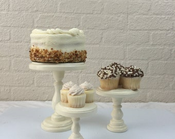 Set of 3 Round Wood Ivory Cupcake Stands Display Risers Pedestals