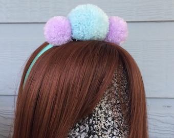Blue and Mauve Pastel Pom Pom Headband for Babies
