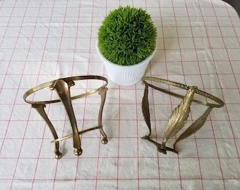 Set of 2 vintage brass plant stands