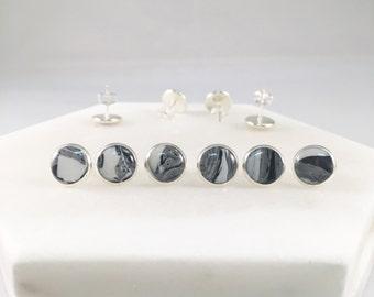 Midnight Grey Marble Stud Earrings