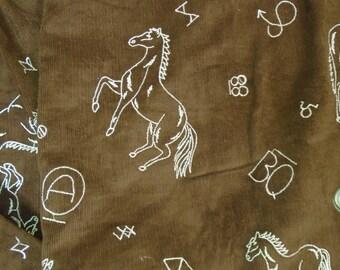 Corduroy fabric-5 yards, Horses