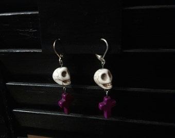 Purple Cross with White Skull Earrings