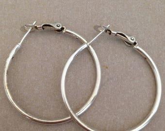 Vintage Silvertone Hoop Earrings