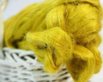 50g Yellow Hemp Fibre, Citron Hemp Fiber, Hemp Top, Wet Felting, Nuno Felting, Felting Supplies