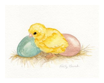 Baby Chick and Eggs-Original Watercolor