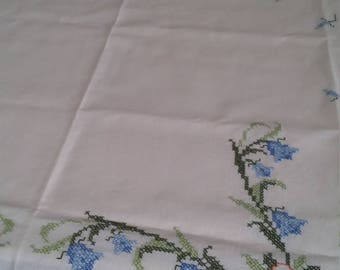 Cross Stitch hand embroidered tablecloth