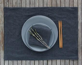 Grey Linen Placemat And Napkin Set, Linen Tablemat and Napkin, Natural Linen Table Set, Pure Linen Napkins, Natural Linen Table Mats