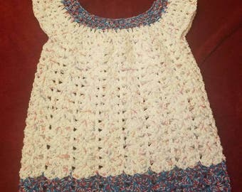 Baby dress (crocheted) red, white, and blue with headband