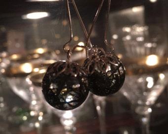 Green Moss Sphere Earrings, resin jewelry, dried flower jewelry, organic jewelry, pressed flower jewelry.