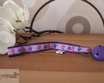 Pacifier pacifier Web band owls purple pink